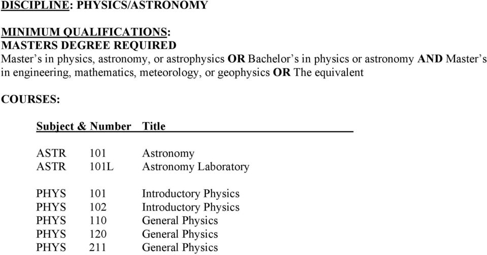 equivalent ASTR 101 Astronomy ASTR 101L Astronomy Laboratory PHYS 101 Introductory Physics PHYS