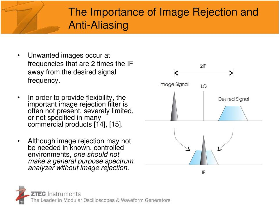 In order to provide flexibility, the important image rejection filter is often not present, severely limited, or not