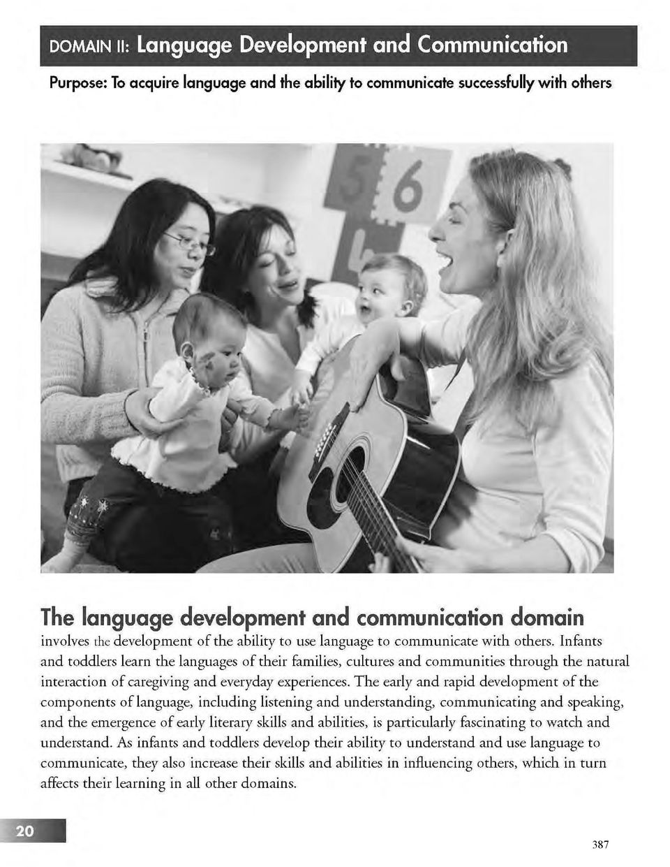 The early and rapid development of the components of language, including listening and understanding, communicating and speaking, and the emergence of early literary skills and abilities, is