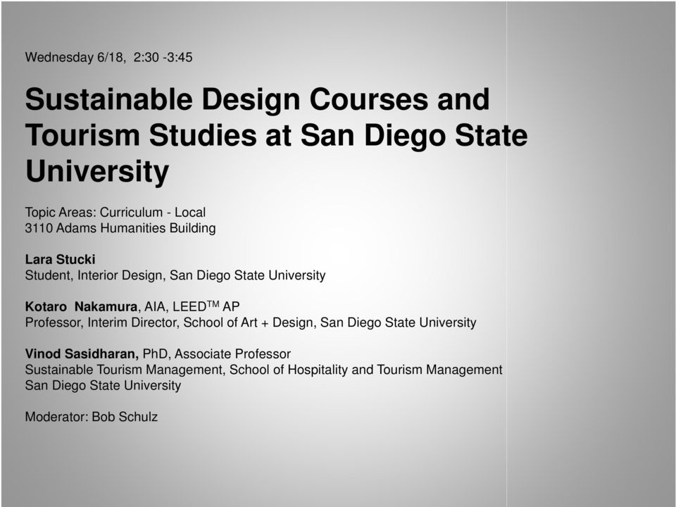 Sustainable Design Courses And Tourism Studies At San Diego State University Pdf Free Download