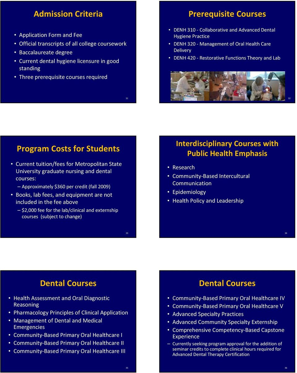 Students Current tuition/fees for Metropolitan State University graduate nursing and dental courses: Approximately $360 per credit (fall 2009) Books, lab fees, and equipment are not included in the
