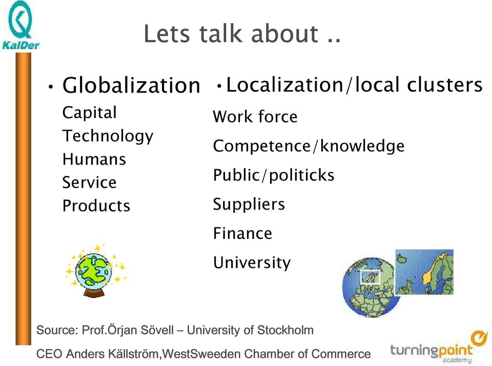Localization/local clusters Work force Competence/knowledge