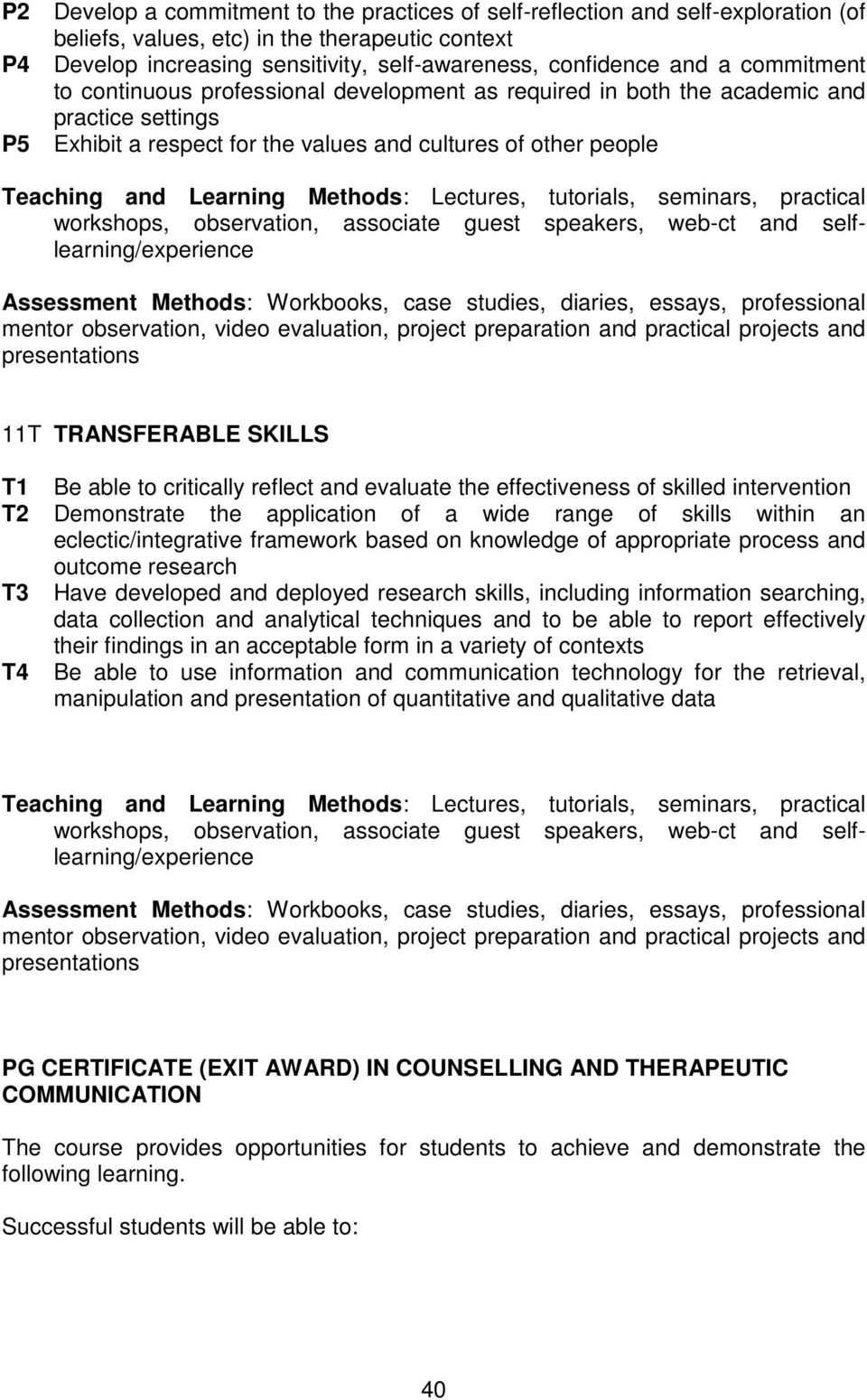 Be able to critically reflect and evaluate the effectiveness of skilled intervention T2 Demonstrate the application of a wide range of skills within an eclectic/integrative framework based on