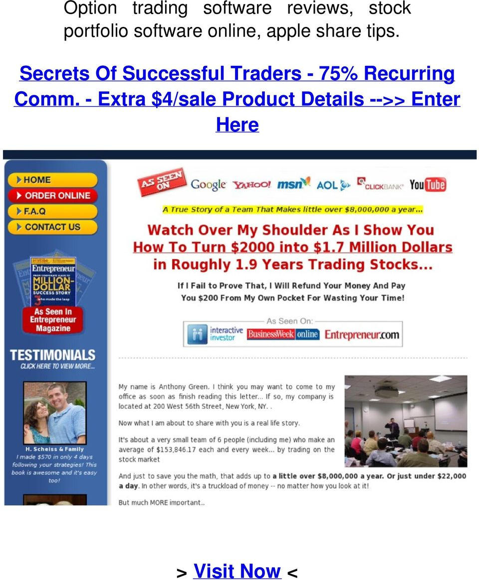Secrets Of Successful Traders - 75% Recurring