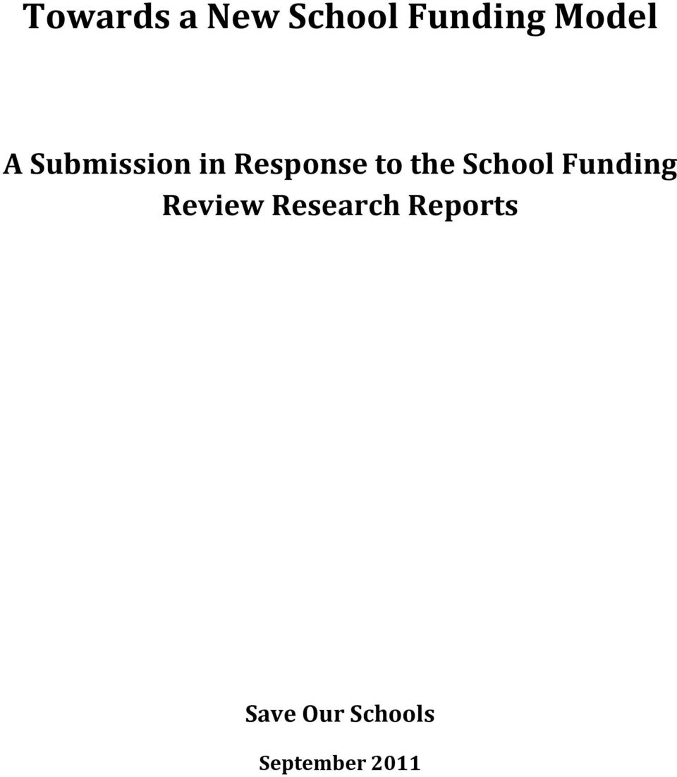 School Funding Review Research