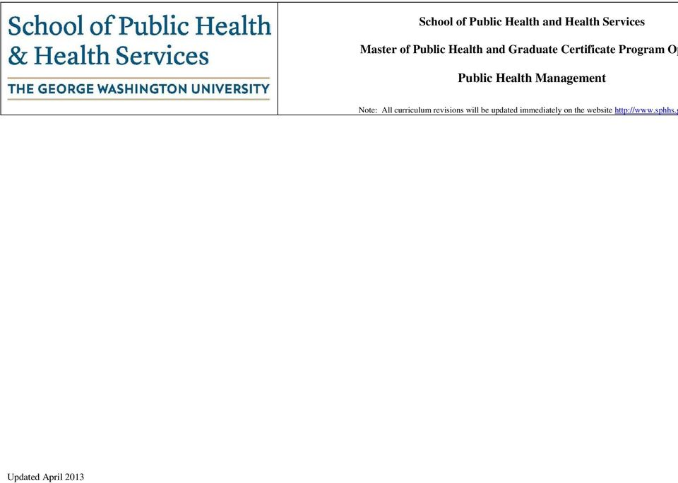 Public Health Management Note: All curriculum revisions