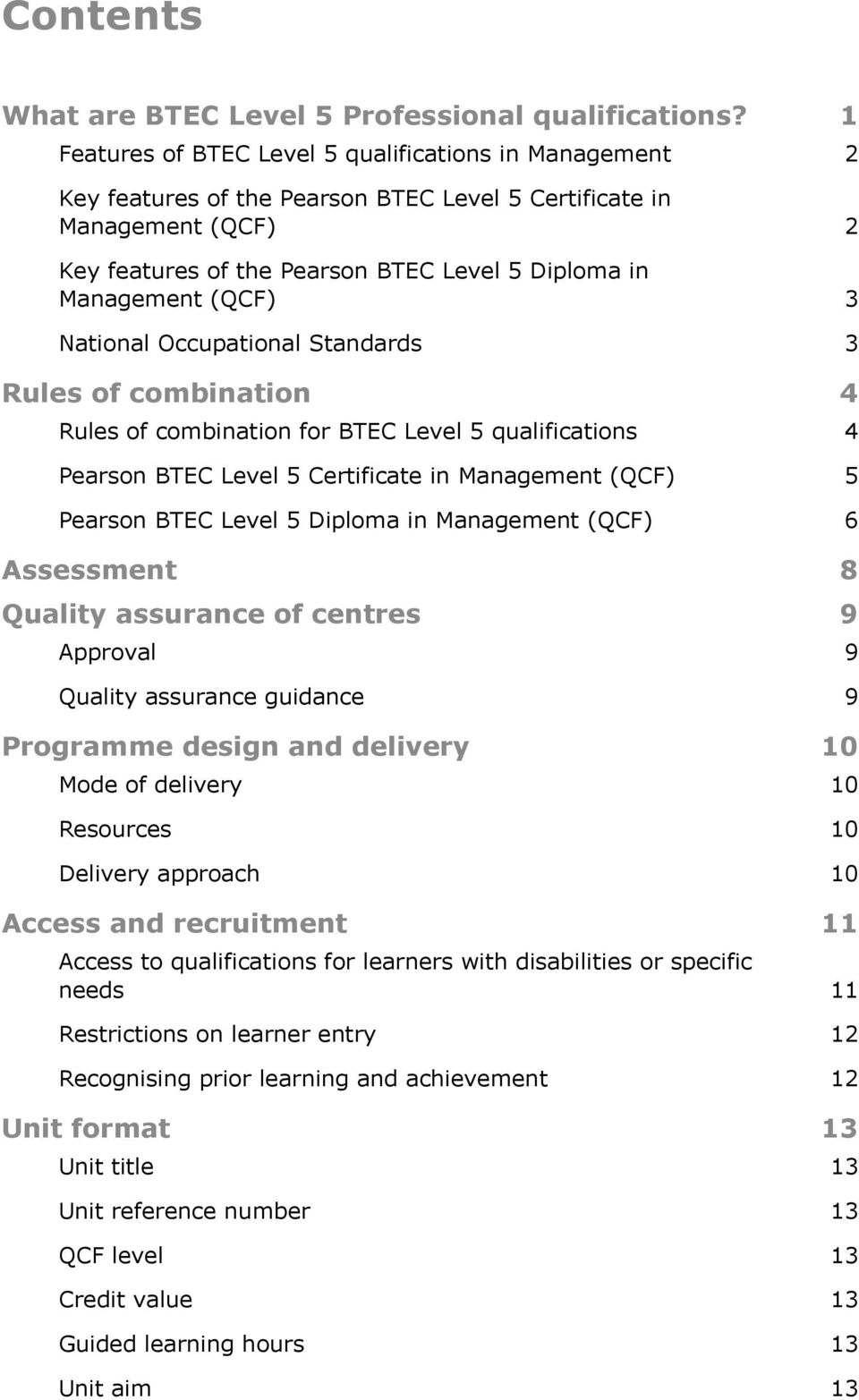 pearson btec level 5 certificate in management qcf pearson btec qcf 3 national occupational standards 3 rules of combination 4 rules of combination for
