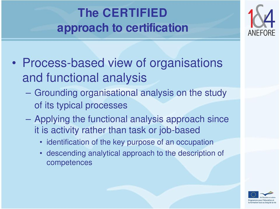 functional analysis approach since it is activity rather than task or job-based identification