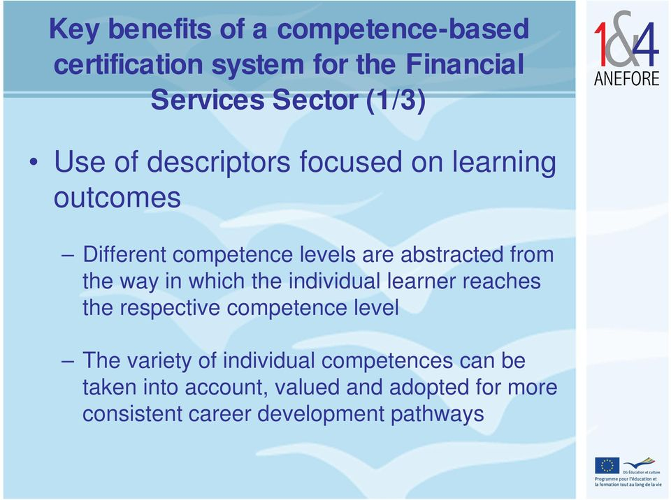 in which the individual learner reaches the respective competence level The variety of individual