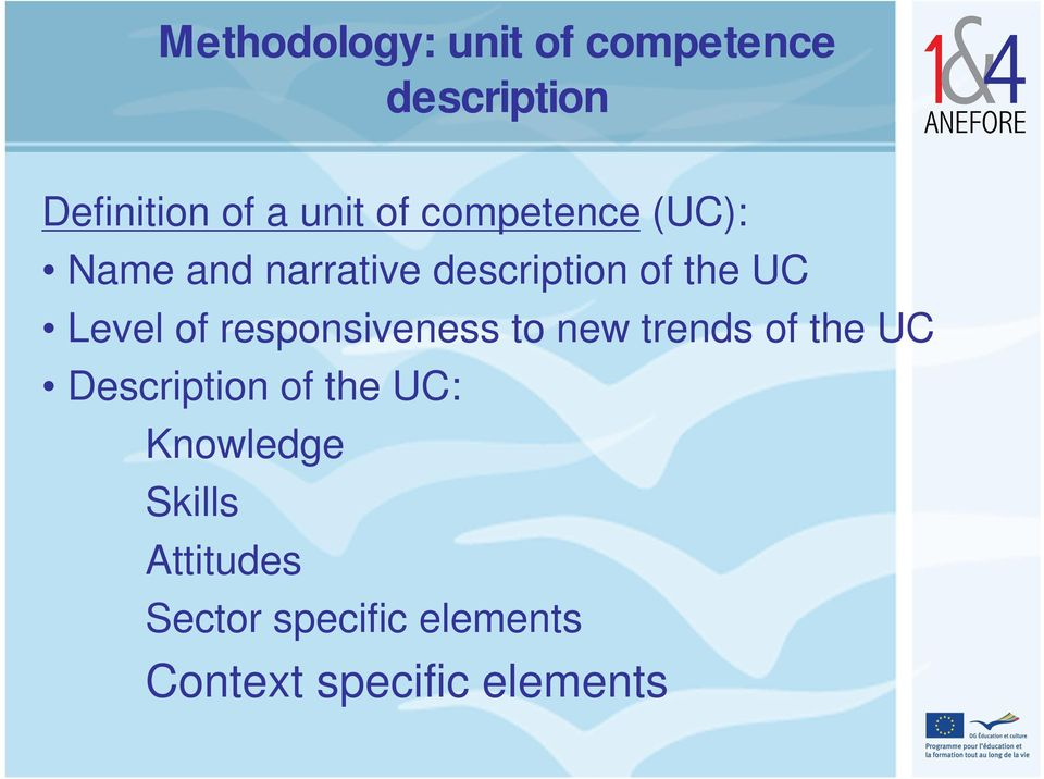 responsiveness to new trends of the UC Description of the UC: