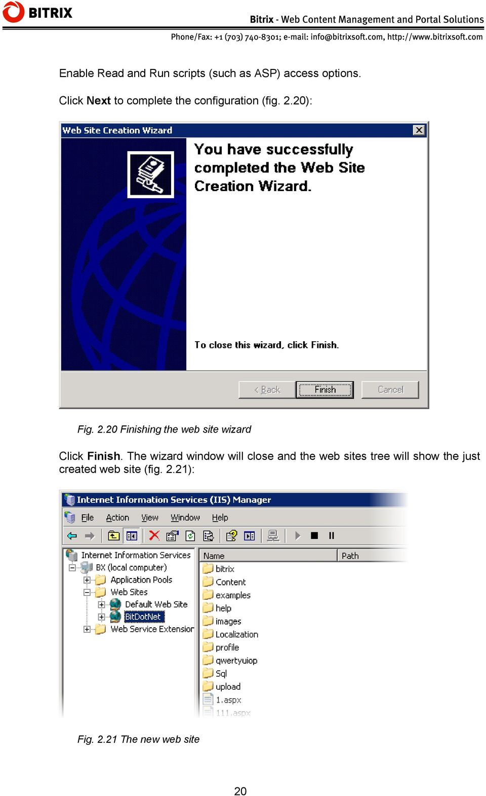 20): Fig. 2.20 Finishing the web site wizard Click Finish.