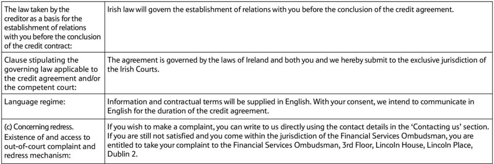 The agreement is governed by the laws of Ireland and both you and we hereby submit to the exclusive jurisdiction of the Irish Courts. Information and contractual terms will be supplied in English.