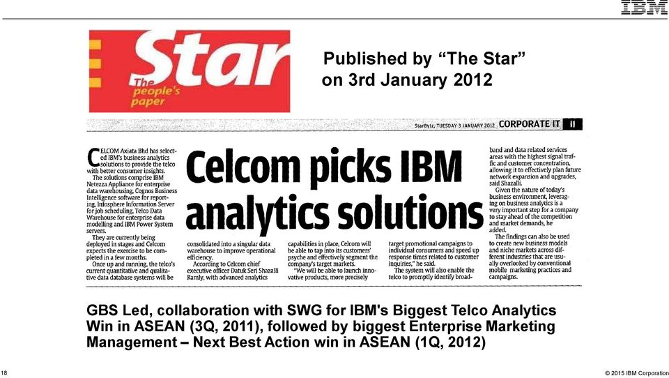 Analytics Win in ASEAN (3Q, 2011), followed by biggest