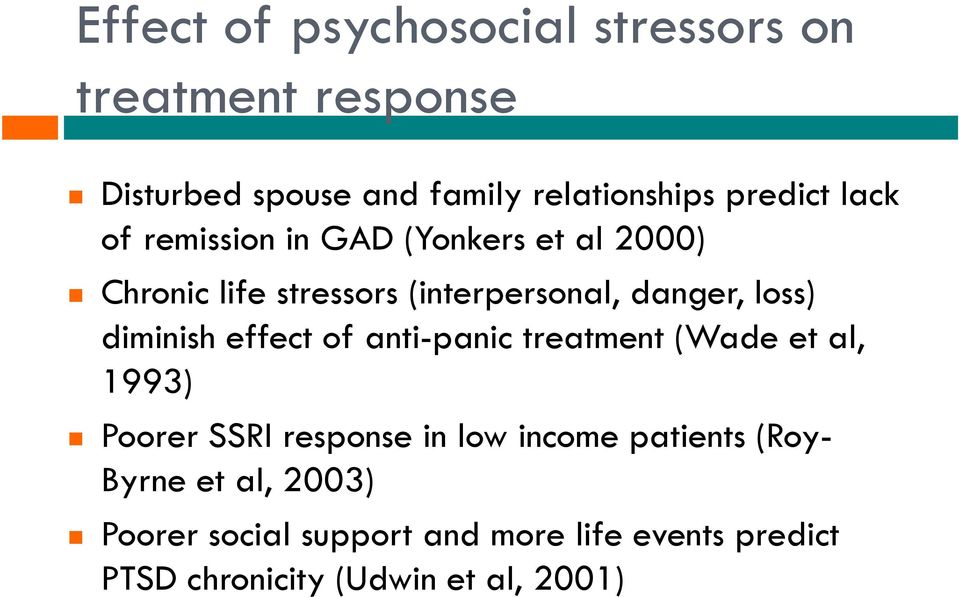 diminish effect of anti-panic treatment (Wade et al, 1993) Poorer SSRI response in low income patients