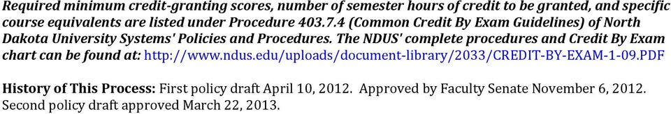 The NDUS' complete procedures and Credit By Exam chart can be found at: http://www.ndus.