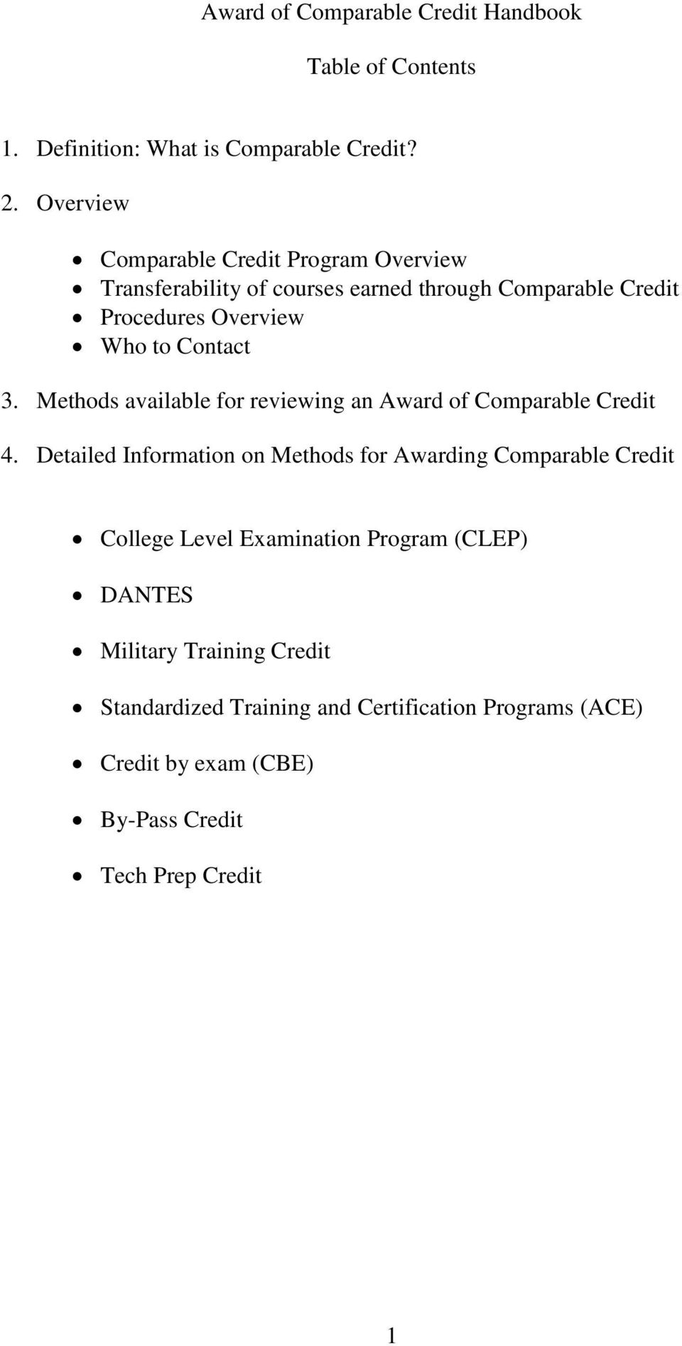 Contact 3. Methods available for reviewing an Award of Comparable Credit 4.
