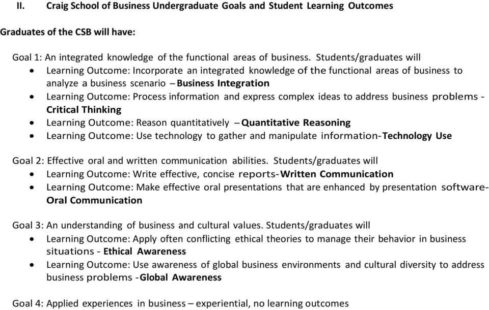 information and express complex ideas to address business problems - Critical Thinking Learning Outcome: Reason quantitatively - Quantitative Reasoning Learning Outcome: Use technology to gather and