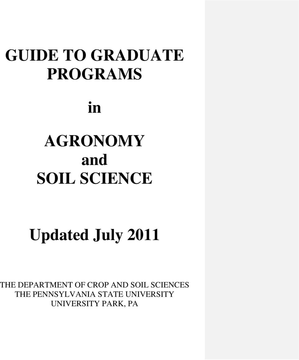 DEPARTMENT OF CROP AND SOIL SCIENCES THE