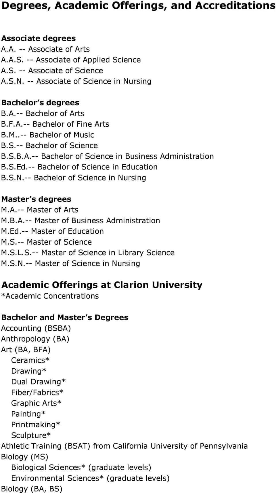 S.Ed.-- Bachelor of Science in Education B.S.N.-- Bachelor of Science in Nursing Master s degrees M.A.-- Master of Arts M.B.A.-- Master of Business Administration M.Ed.-- Master of Education M.S.-- Master of Science M.