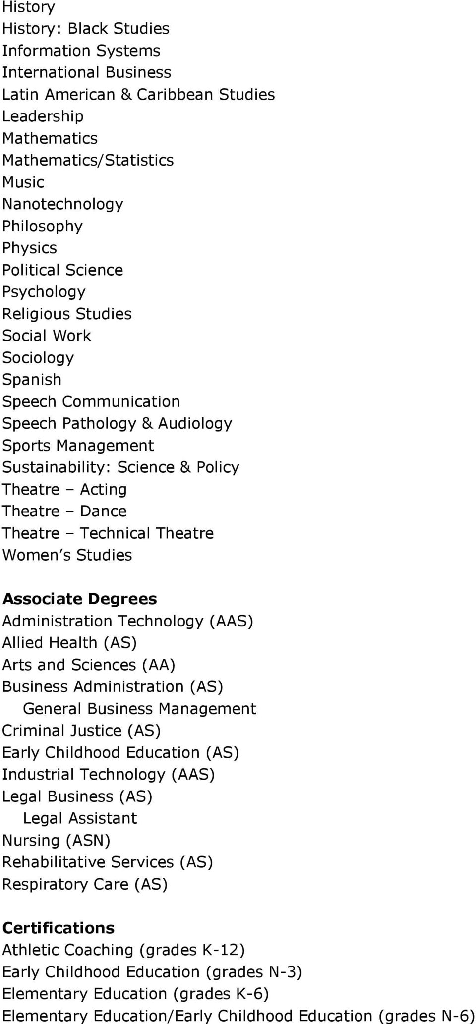 Theatre Dance Theatre Technical Theatre Women s Studies Associate Degrees Administration Technology (AAS) Allied Health (AS) Arts and Sciences (AA) Business Administration (AS) General Business