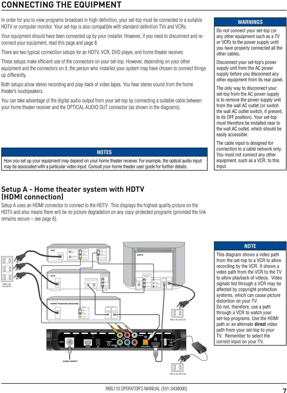 However, if you need to disconnect and reconnect your equipment, read this page and page 8. There are two typical connection setups for an HDTV, VCR, DVD player, and home theater receiver.