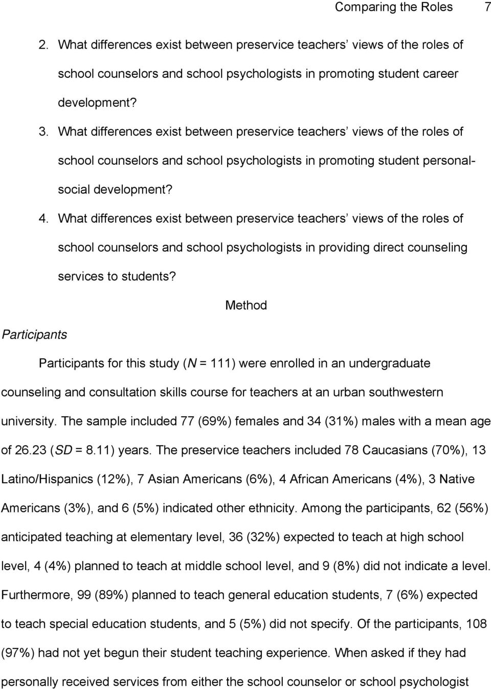 What differences exist between preservice teachers views of the roles of school counselors and school psychologists in providing direct counseling services to students?
