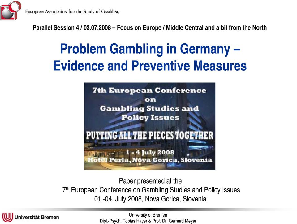 Problem Gambling in Germany Evidence and Preventive Measures Paper