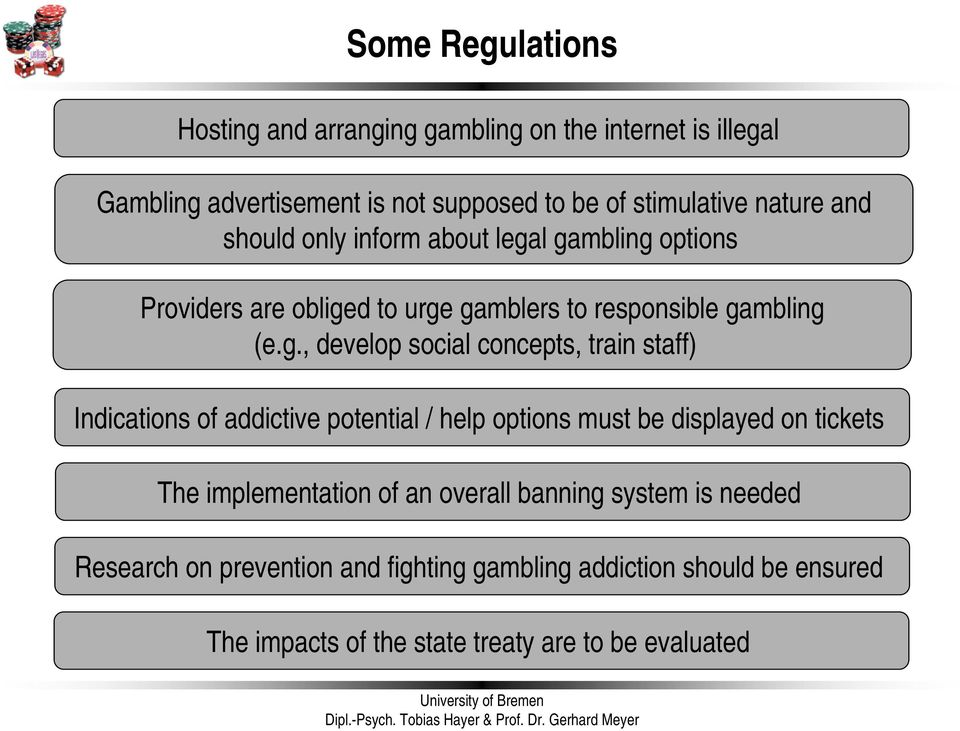 l gambling options Providers are obliged to urge gamblers to responsible gambling (e.g., develop social concepts, train staff) Indications