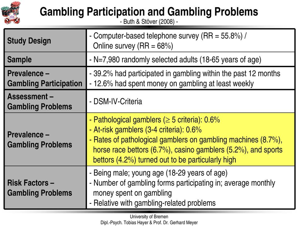 2% had participated in gambling within the past 12 months - 12.6% had spent money on gambling at least weekly -DSM-IV-Criteria - Pathological gamblers ( 5 criteria): 0.