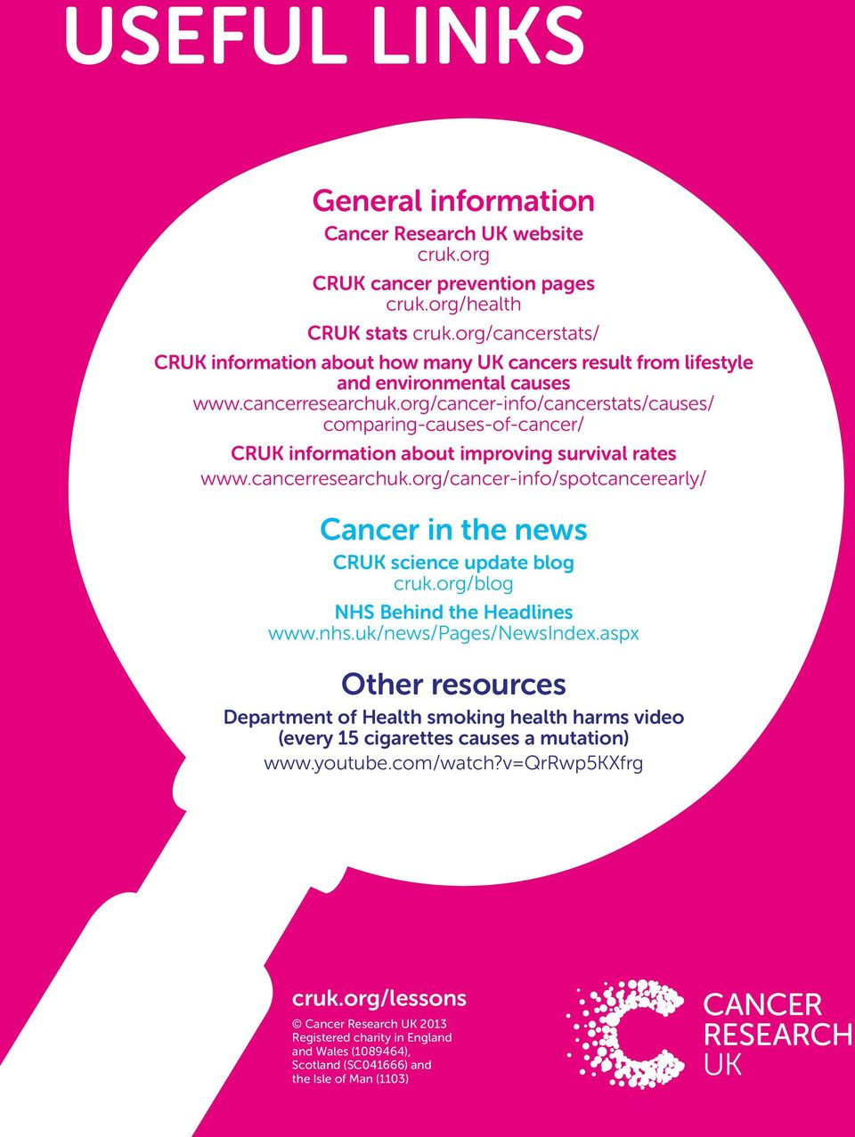 org/cancer-info/cancerstats/causes/ comparing-causes-of-cancer/ CRUK information about improving survival rates www.cancerresearchuk.