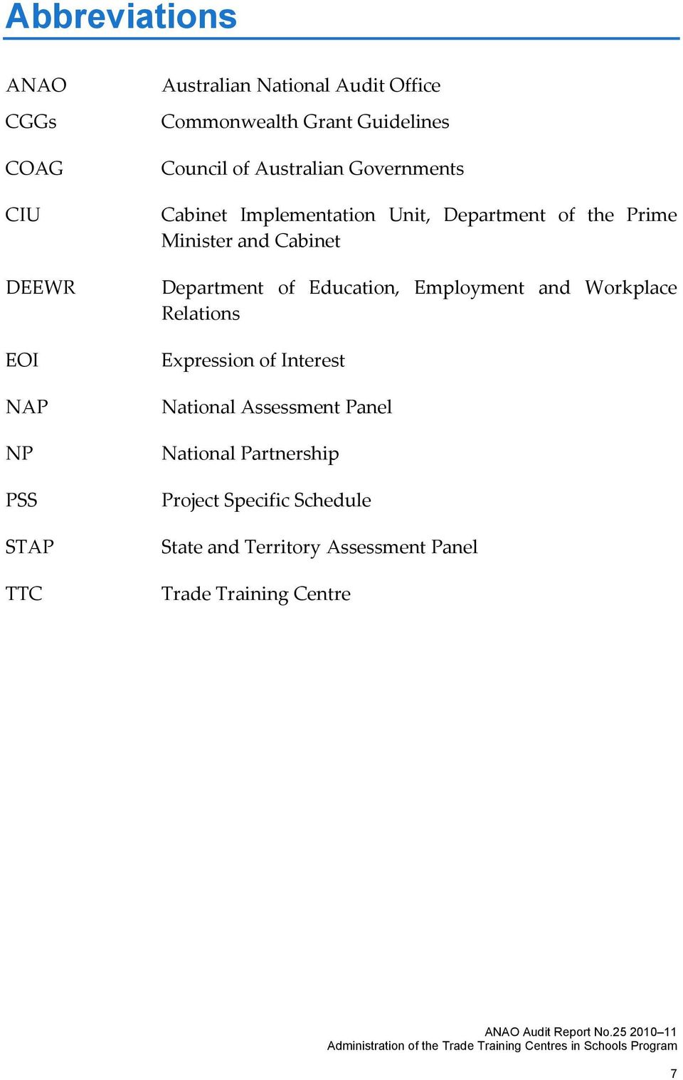 and Cabinet Department of Education, Employment and Workplace Relations Expression of Interest National