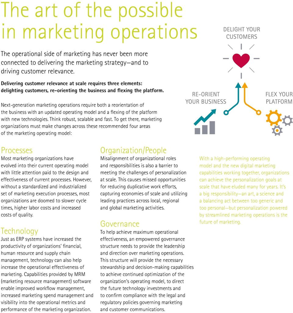 Next-generation marketing operations require both a reorientation of the business with an updated operating model and a flexing of the platform with new technologies. Think robust, scalable and fast.