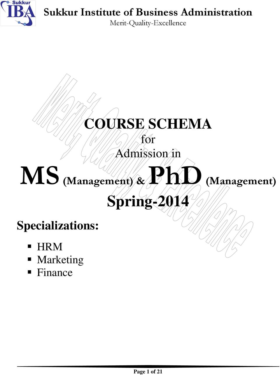 Admission in MS (Management) & PhD (Management)
