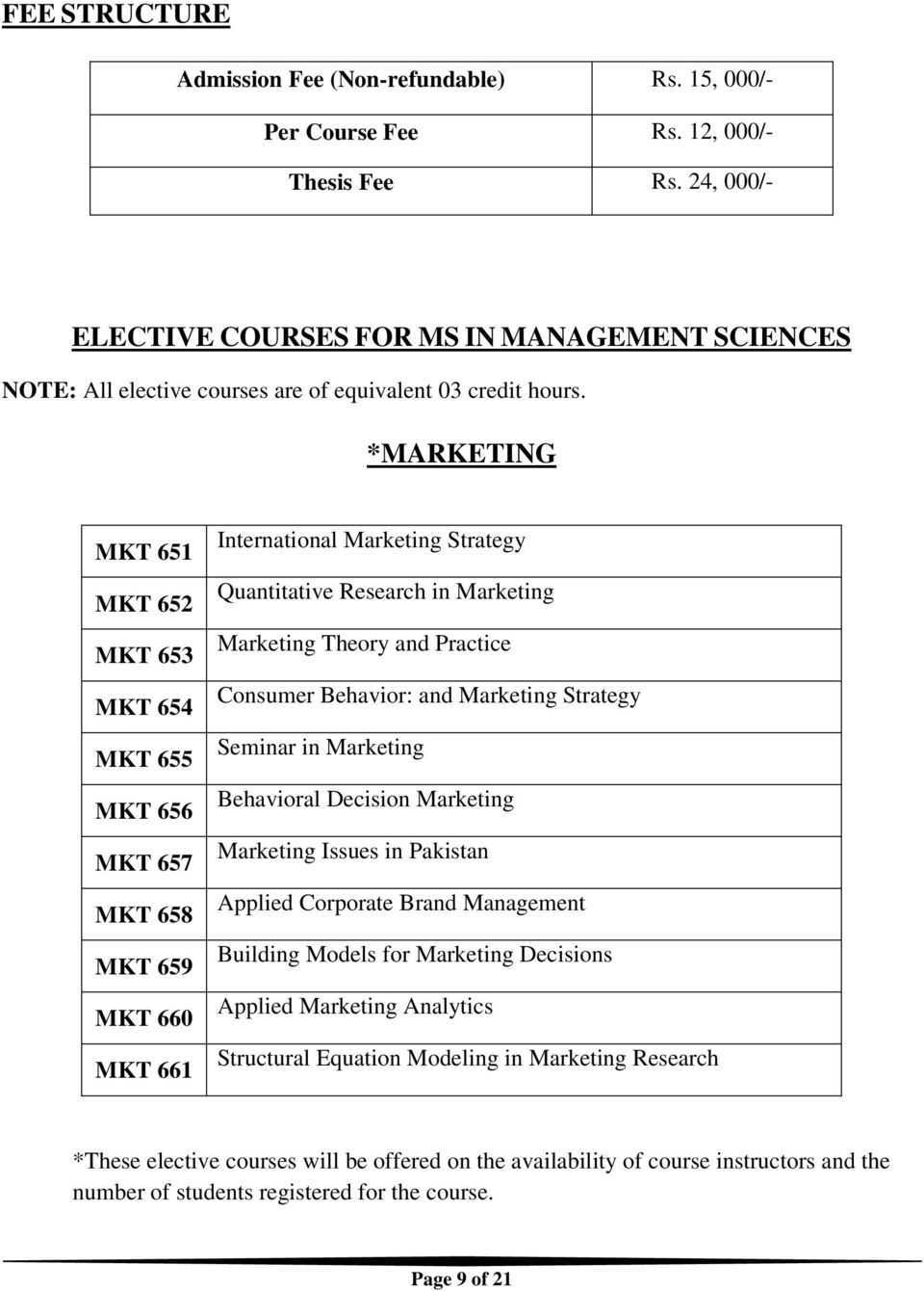 *MARKETING MKT 651 MKT 652 MKT 653 MKT 654 MKT 655 MKT 656 MKT 657 MKT 658 MKT 659 MKT 660 MKT 661 International Marketing Strategy Quantitative Research in Marketing Marketing Theory and Practice