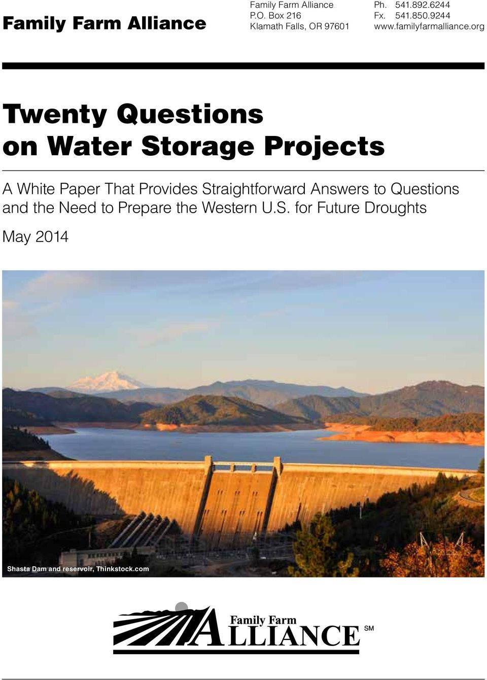 org Twenty Questions on Water Storage Projects A White Paper That Provides