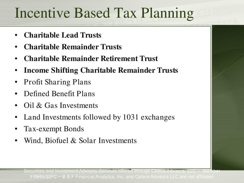 Trusts Profit Sharing Plans Defined Benefit Plans Oil & Gas Investments Land