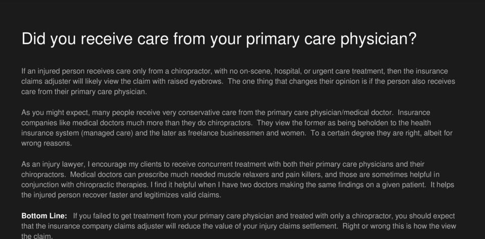 The one thing that changes their opinion is if the person also receives care from their primary care physician.