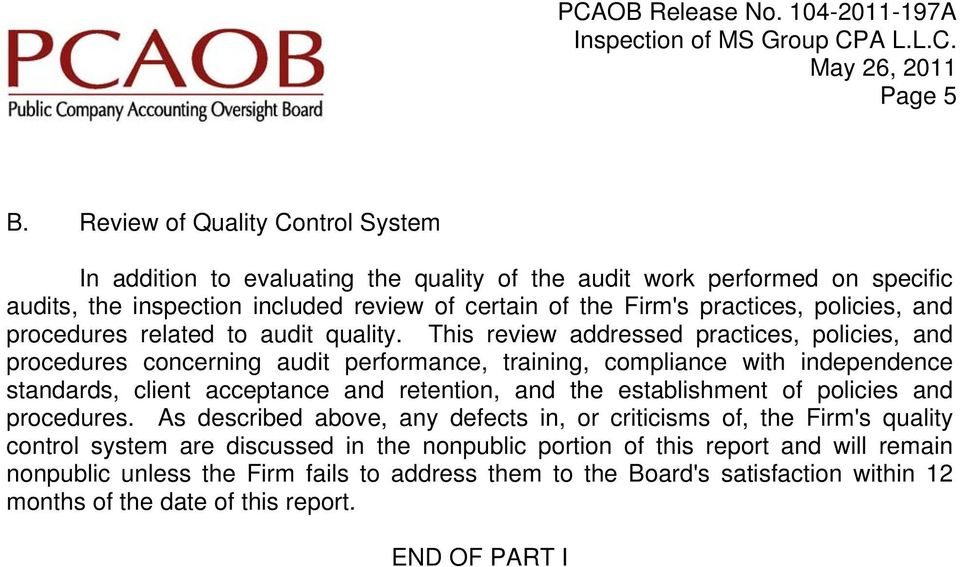 policies, and procedures related to audit quality.