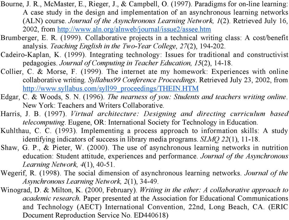 Collaborative projects in a technical writing class: A cost/benefit analysis. Teaching English in the Two-Year College, 27(2), 194-202. Cadeiro-Kaplan, K. (1999).