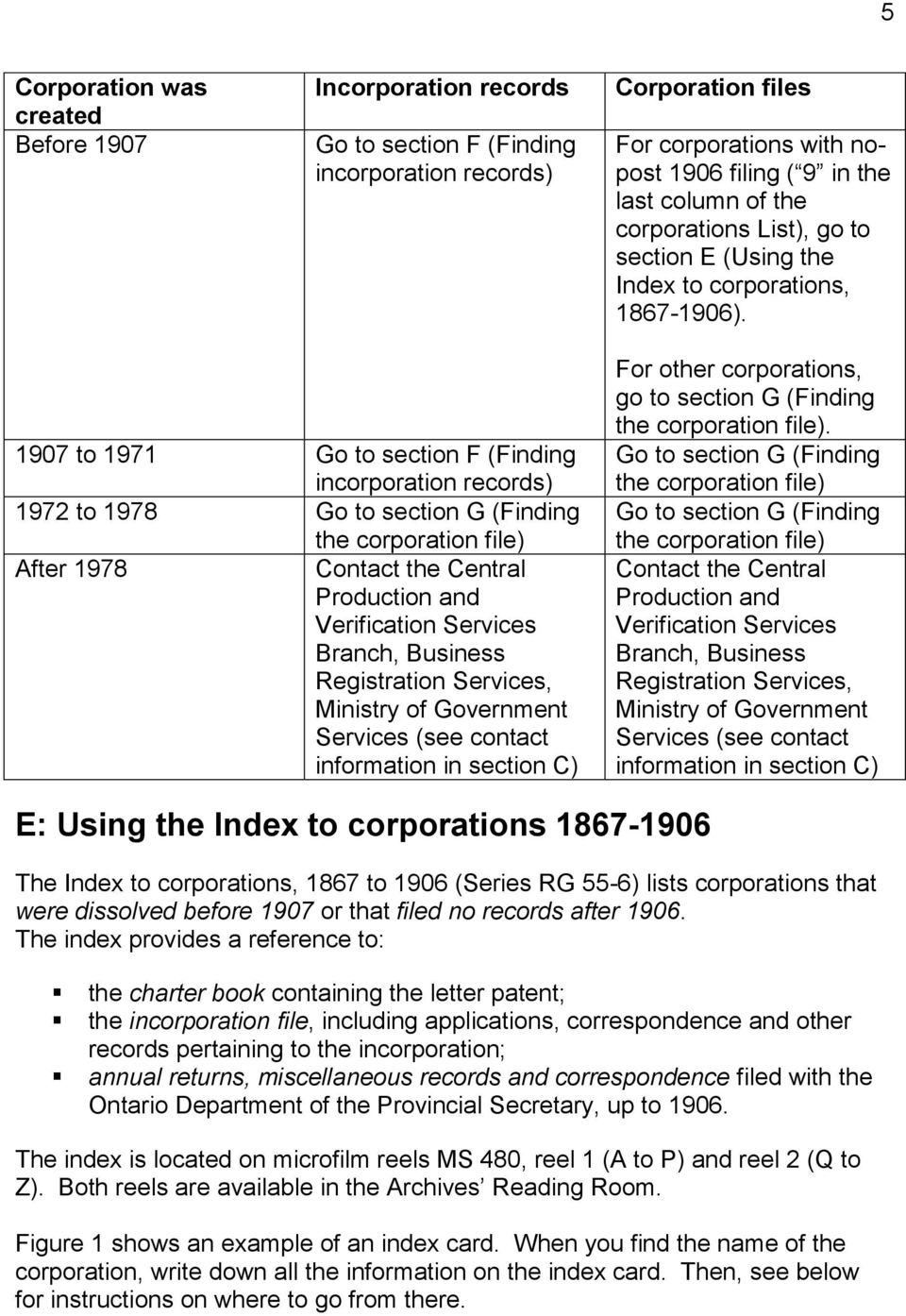 1907 to 1971 Go to section F (Finding incorporation records) 1972 to 1978 Go to section G (Finding the corporation file) After 1978 Contact the Central Production and Verification Services Branch,
