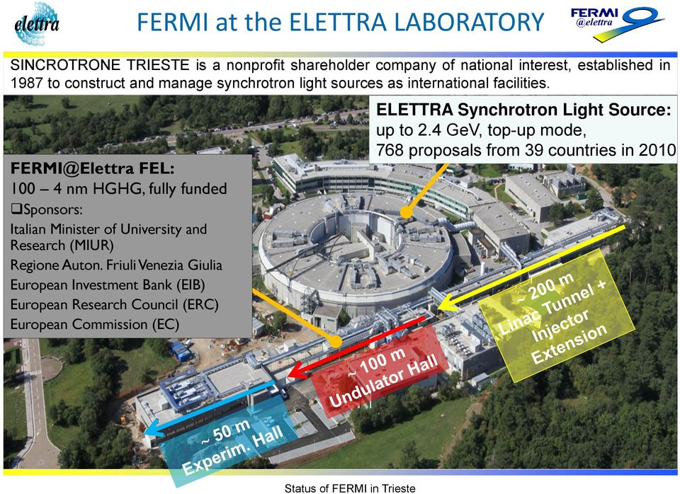 FERMI@Elettra FEL: 100 4 nm HGHG, fully funded ELETTRA Synchrotron Light Source: up to 2.