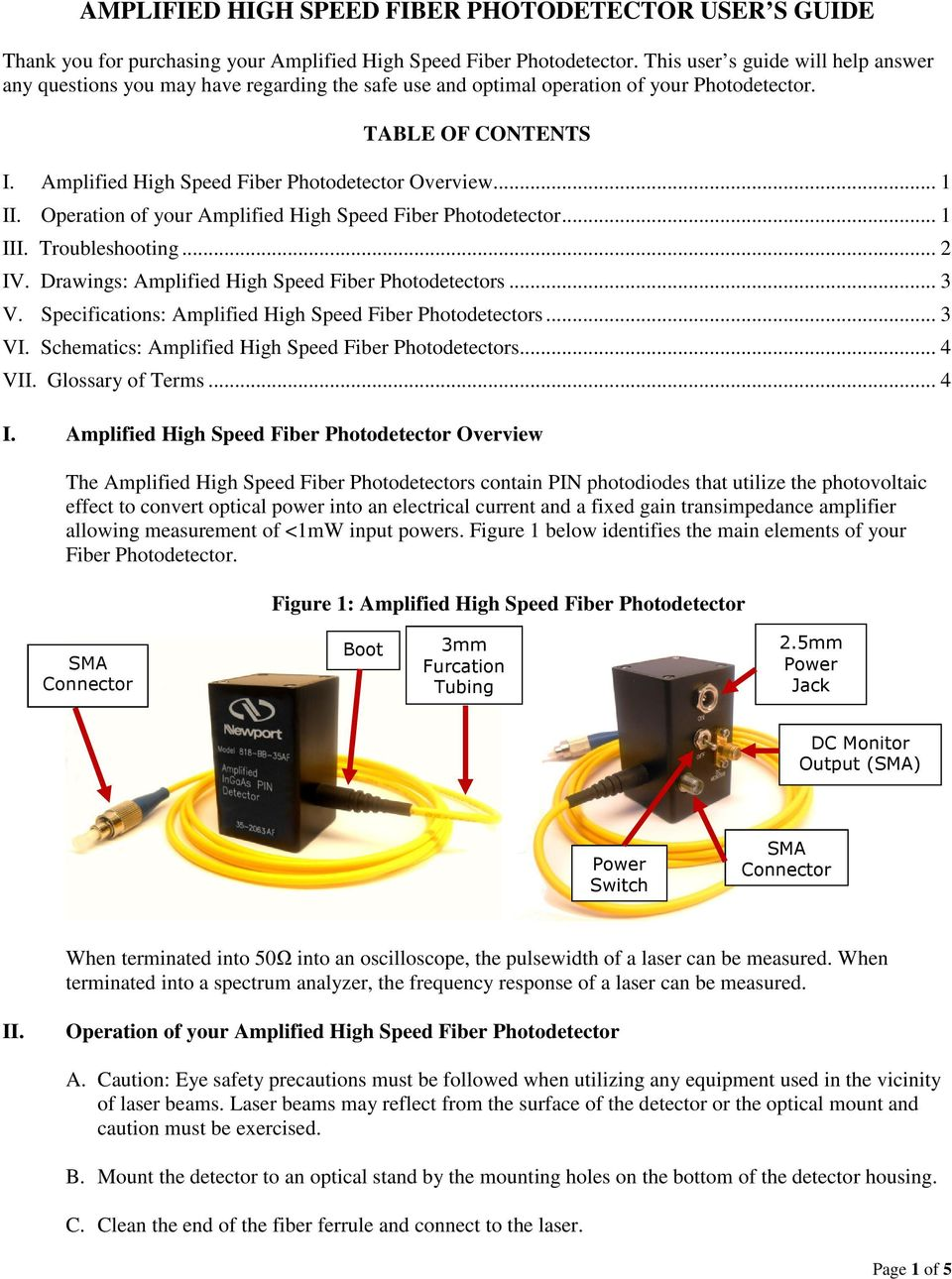 Amplified High Speed Fiber Photodetector Overview... 1 II. Operation of your Amplified High Speed Fiber Photodetector... 1 III. Troubleshooting... 2 IV.