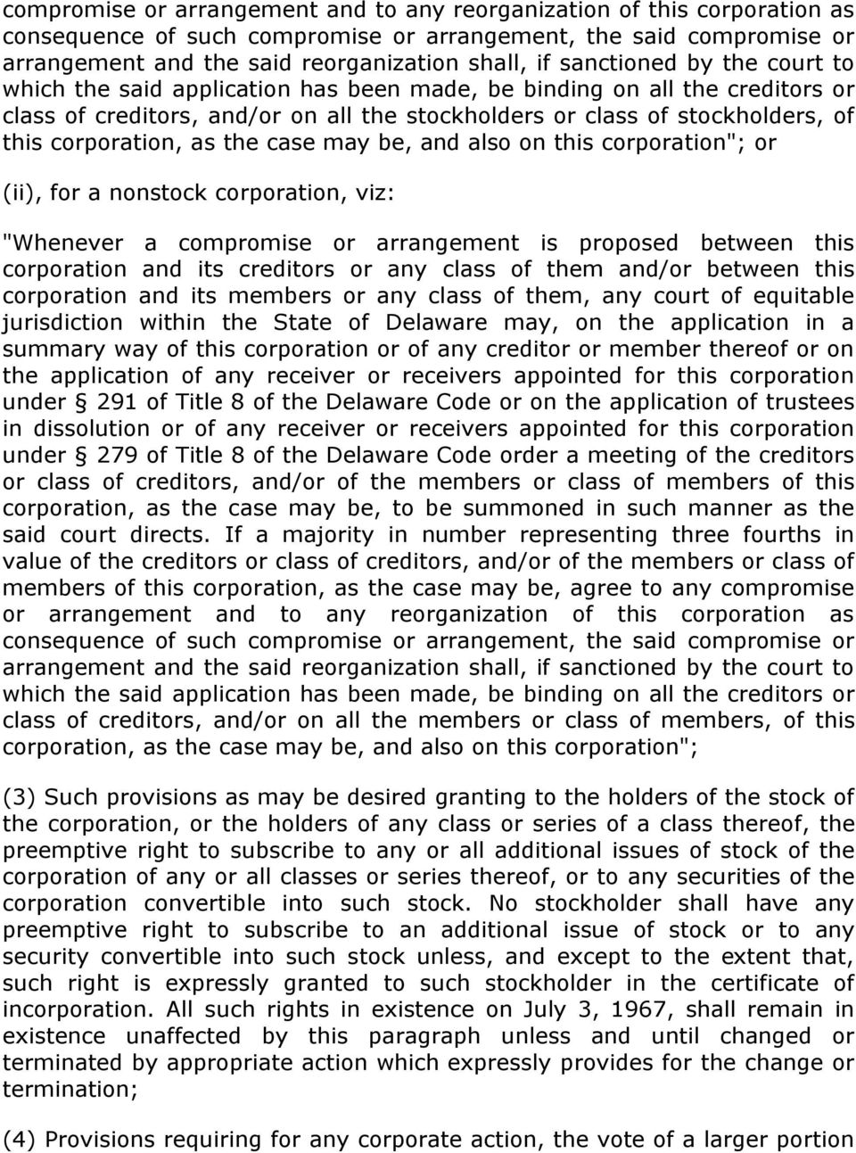 "corporation, as the case may be, and also on this corporation""; or (ii), for a nonstock corporation, viz: ""Whenever a compromise or arrangement is proposed between this corporation and its creditors"