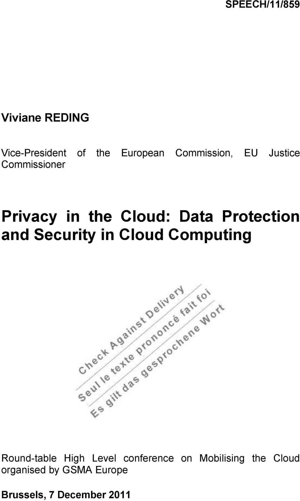 Protection and Security in Cloud Computing Round-table High Level