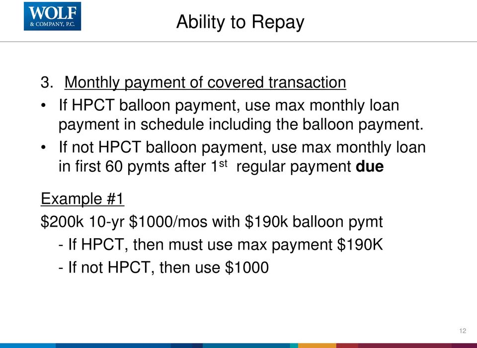 schedule including the balloon payment.