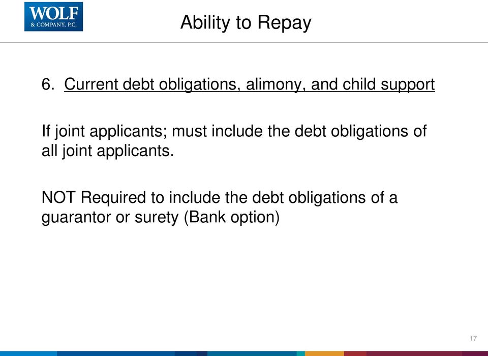 joint applicants; must include the debt obligations of all