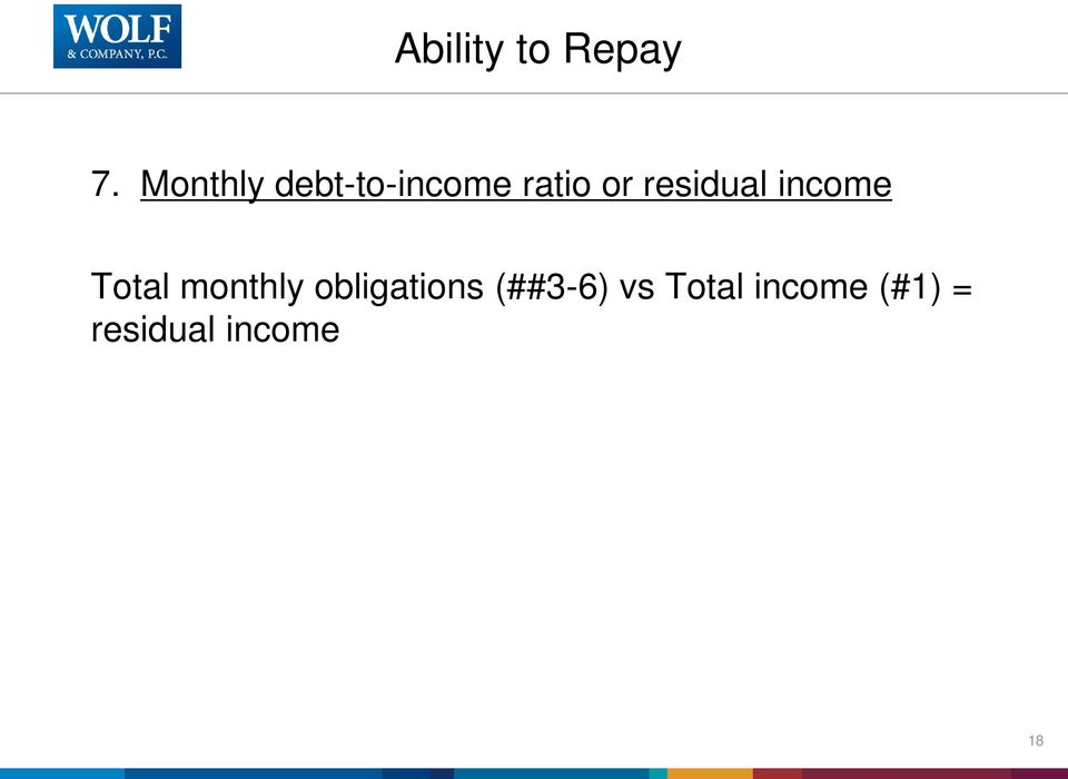 residual income Total monthly