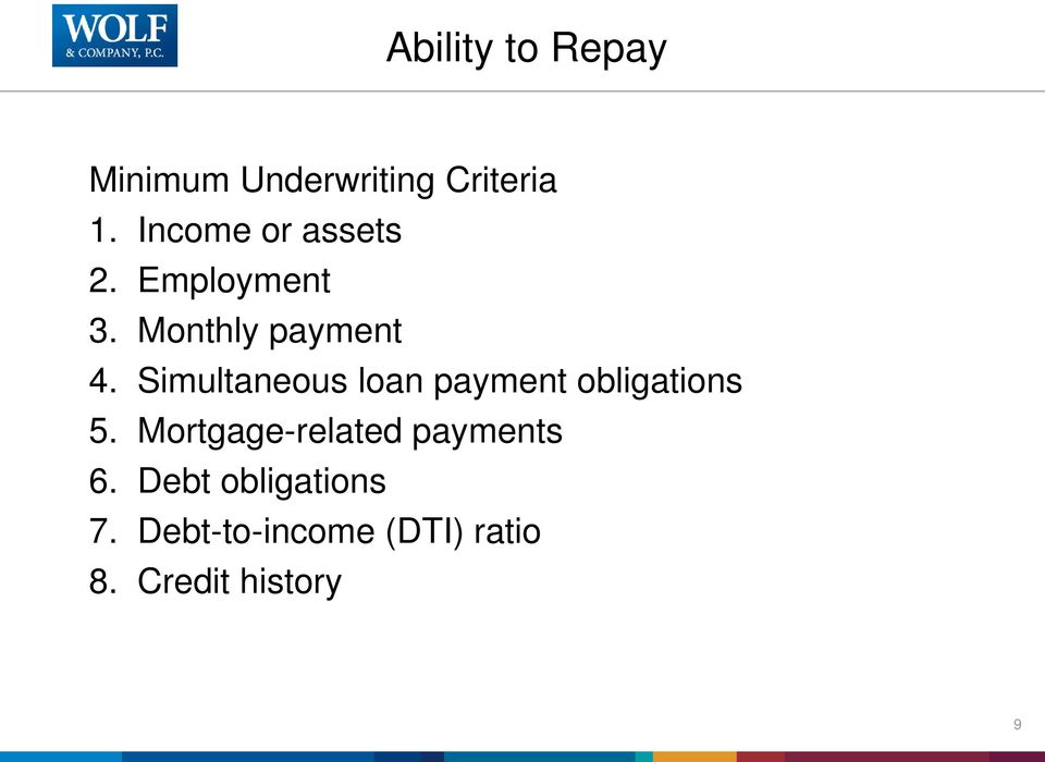Simultaneous loan payment obligations 5.