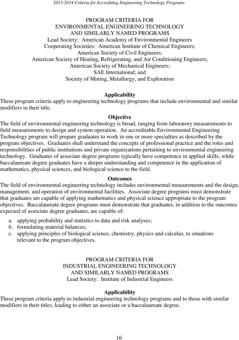 program criteria apply to engineering technology programs that include environmental and similar modifiers in their title.