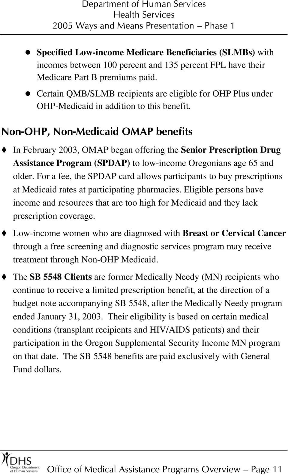 Non-OHP, Non-Medicaid OMAP benefits In February 2003, OMAP began offering the Senior Prescription Drug Assistance Program (SPDAP) to low-income Oregonians age 65 and older.